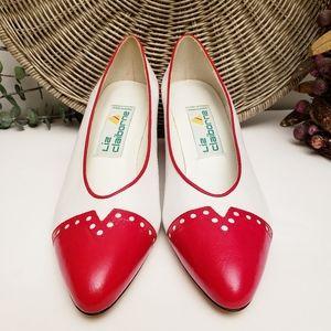 Liz Claiborne Vintage Leather White Heels {7.5}